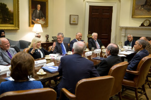 D C with Obama & 7 other business talking exports 15-0325 2